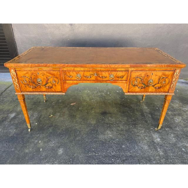 Fine Early 19th C. English Painted Satonwood Desk With Leather Top For Sale - Image 12 of 13
