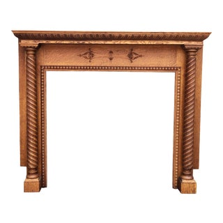 Antique Victorian Quartersawn Oak Barley Twist Scroll Fireplace Mantel For Sale