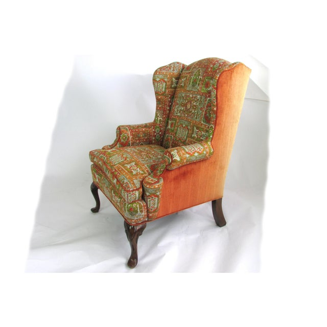 Velvet & Print Wingback Chair - Image 4 of 9