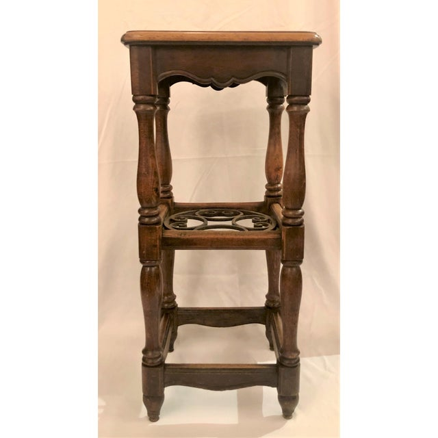 French Country Antique French Country Oak and Iron Tavern Bar Stool With Leather Seat, Circa 1890-1910. For Sale - Image 3 of 6