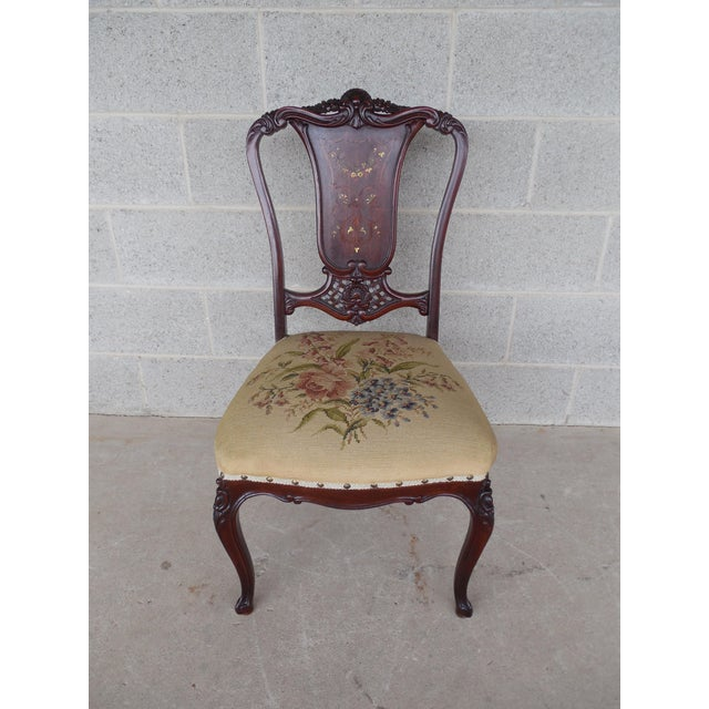 Vintage French Louis XV Style Carved Mother of Pearl Inlay Vanity Chair For Sale - Image 10 of 10