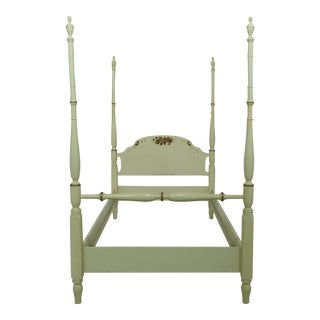 Hitchcock Full Size Creme Paint Decorated Poster Bed For Sale