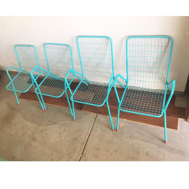 1950s Vintage Emu Industrial Metal Aqua Patio Chairs - Set of 4 For Sale - Image 13 of 13