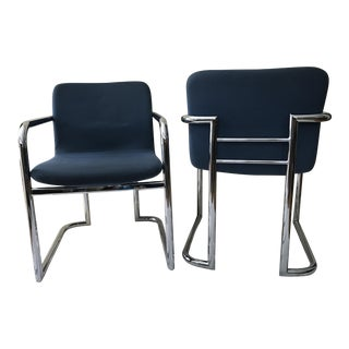Lowenstein Chrome Cantilever Side Chairs - A Pair