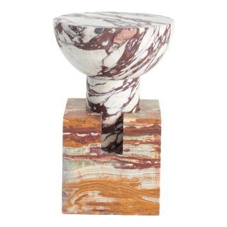 Postmodern Italian Side Table in Handcrafted Marble Designed by Anna Karlin For Sale