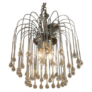 Chrome & Glass Waterfall Chandelier Attributed to Christoph Palme For Sale