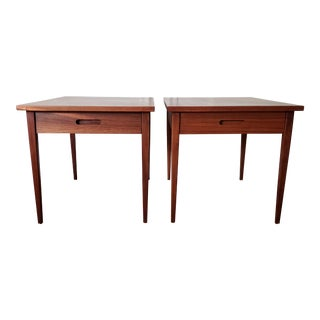 1960s Mid Century Modern Jens Risom Style Side Tables-A Pair For Sale