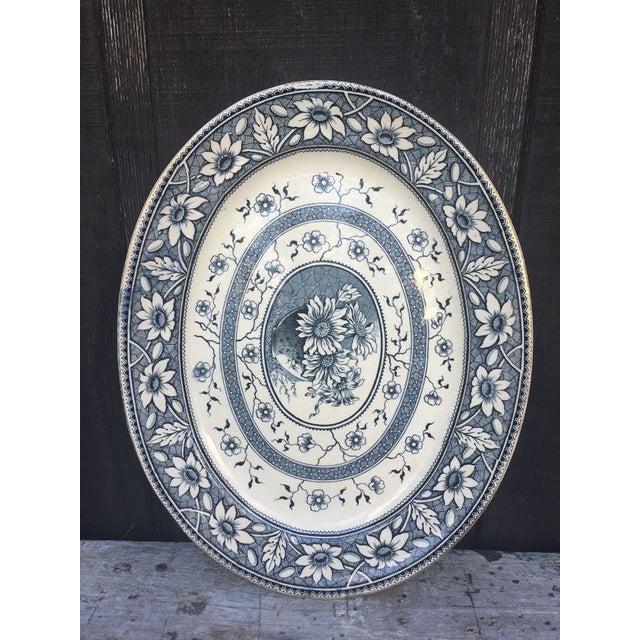 1883 Palmyra Blue Transferware Platter For Sale - Image 4 of 7
