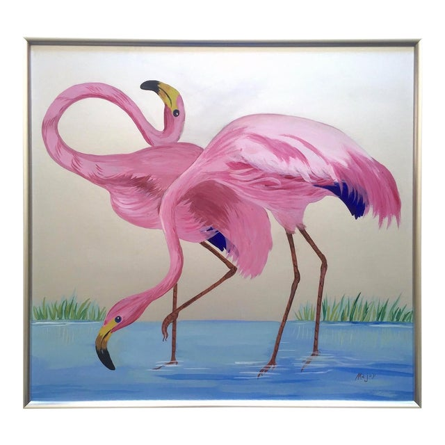 """Rare Vintage 1950s Art Deco """" Pink Flamingos in Lagoon """" Framed Original Fine Art Gouache Painting on Board For Sale"""