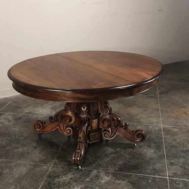 19th Century French Renaissance Walnut Pedestal Table For Sale - Image 4 of 13