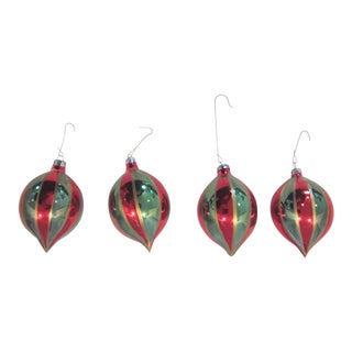 Mid-Century Romanian Christmas Glass Ornaments - Set of 4 For Sale