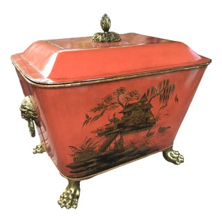 Theodore Alexander Chinoiserie Metal Footed Brass Lion Box