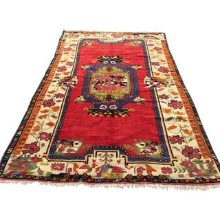 """Vintage Hand Knotted Anatolian Rug - 5'1"""" x 8' For Sale"""