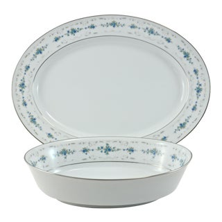 Noritake Floral Bowl & Tray, 2 Pieces For Sale