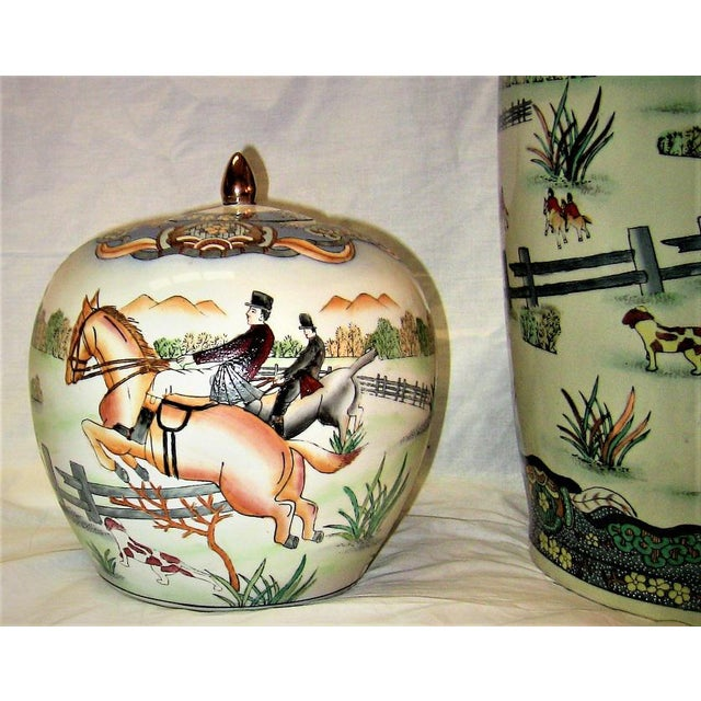 Ceramic Early 20c Chinese Hunt Scene Floor Vase and Lidded Urns For Sale - Image 7 of 13