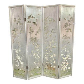 Vintage Chinese Silver Leaf Screen For Sale