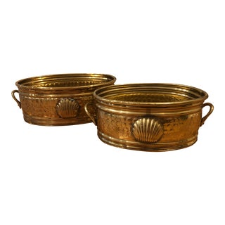 Brass Cachepots With Handles and Shell Motif - a Pair For Sale