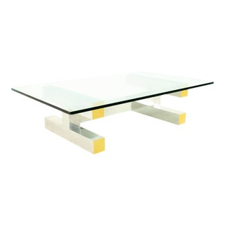 Paul Evans Style Cityscape Mid Century Brass and Polished Aluminum Glass Coffee Table For Sale