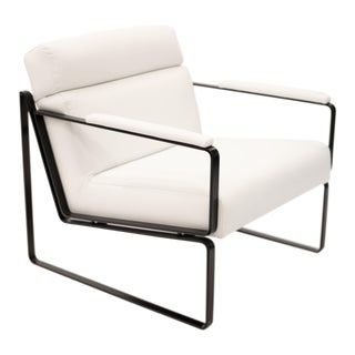 Jessse White Leather Club Chair For Sale