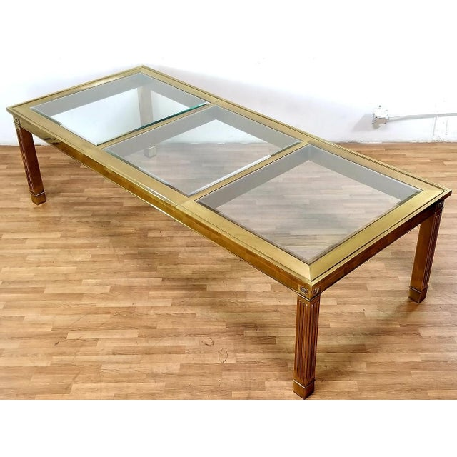 Mid-Century Modern Mastercraft Brass and Beveled Glass Extension Table With Columnar Legs For Sale In Los Angeles - Image 6 of 13