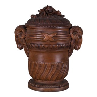 Antique French Terra Cotta Vessel and Lid circa 1885 For Sale