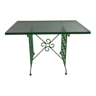 1960s Mid-Century Modern Green Glass Garden Table For Sale