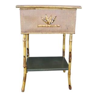 Antique Burnt Rattan Lift Top Table