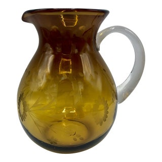 Hand Blown Daisy Etched Amber Glass Pitcher
