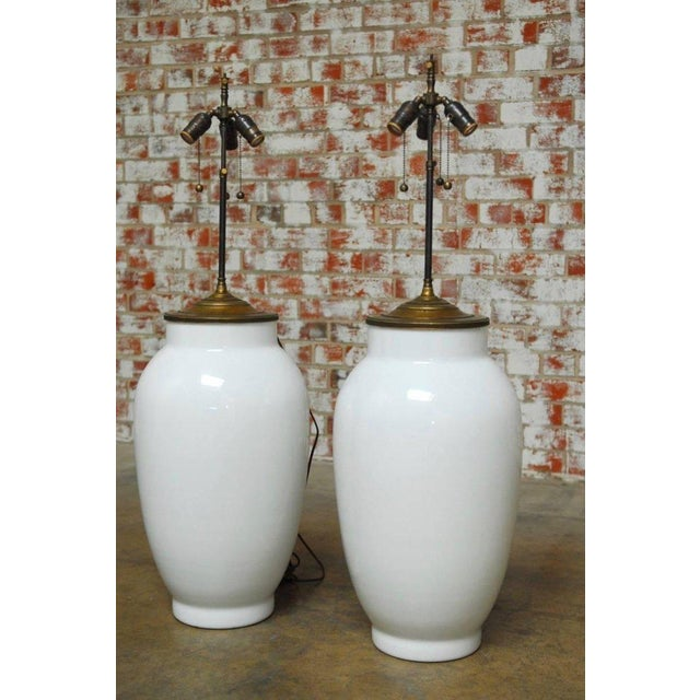 Blanc de Chine Baluster Form Table Lamps - A Pair For Sale - Image 4 of 9