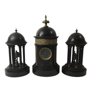 Antique Doré Bronze Black Clock - Set of 3 For Sale