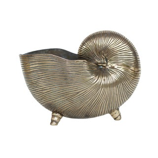 Late 20th Century Vintage Brass Shell Planter For Sale