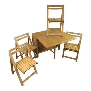 Mid Century Modern Portable Wooden Table and 4 Chairs For Sale