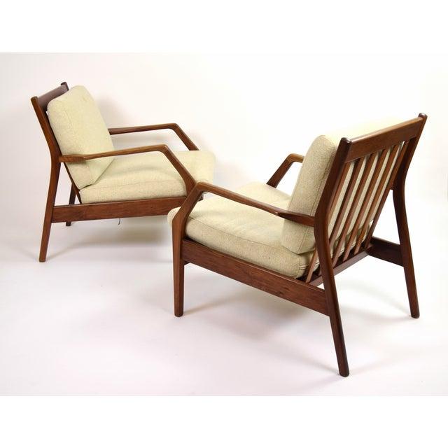 Mid-Century Modern Vintage Ib Kofod Larsen Style Danish Modern Lounge Armchairs - a Pair For Sale - Image 3 of 9