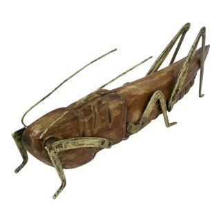 Giant Wood & Gilt Metal Grasshopper by Sarried Spain For Sale