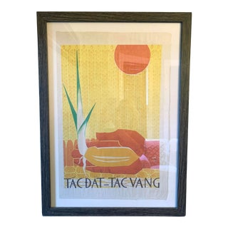 Framed Vintage Screen Printed Agriculture Propaganda Poster From Vietnam For Sale