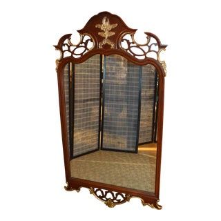 Vintage Thomasville Carved Mahogany Regency Style Gold Detailed Wall Mirror For Sale
