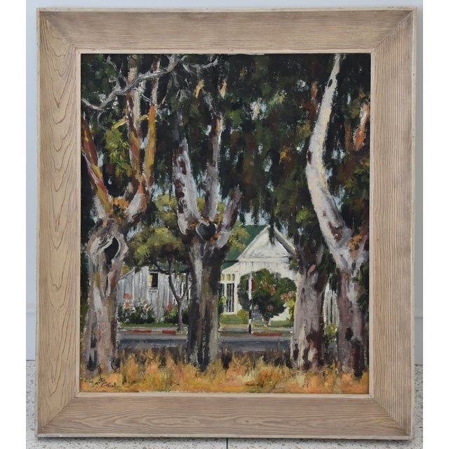 1950s Dorothy Neal, Cottage and Grove of Trees Landscape Oil Painting For Sale - Image 10 of 11