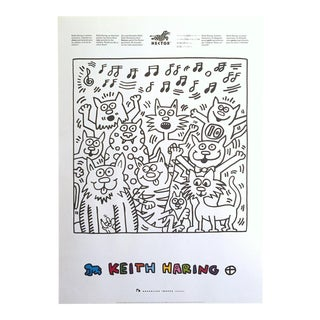 "Keith Haring Estate Rare Vintage 1991 Lithograph Print "" Singing Cats "" Collector's Pop Art Poster For Sale"