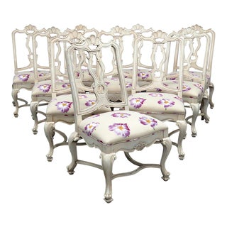 Late 20th Century Karges Style Paint Decorated Dining Side Chairs- Set of 10 For Sale