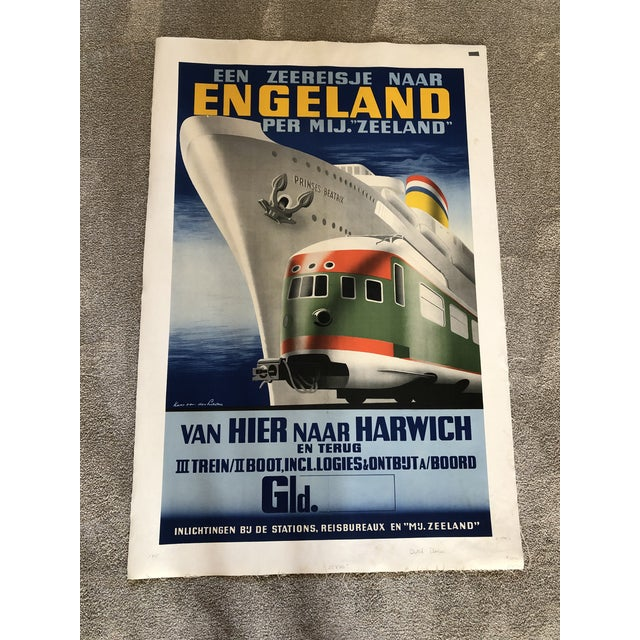 Canvas Large Antique Dutch Advertisement Poster For Sale - Image 7 of 7