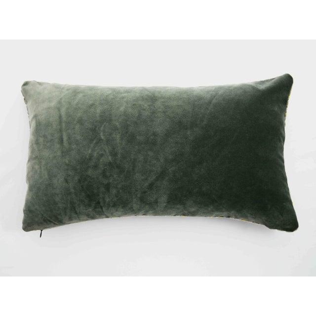 2010s FirmaMenta Italian Damask Geometric Green & Yellow Velvet Lumbar Pillow For Sale - Image 5 of 6