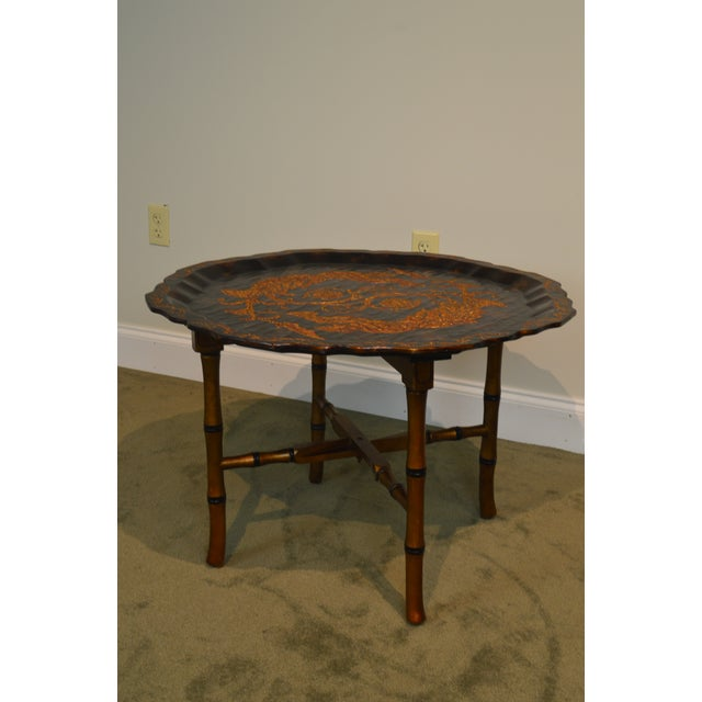 Black & Gold Crackle Painted Finish Pie Crust Tray Top Faux Bamboo Coffee Table For Sale - Image 9 of 13