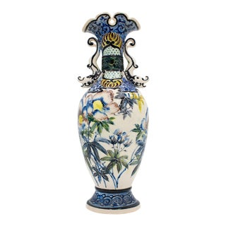 Antique Majolica Iris Flowers Textured Floral Vase with Dolphin Handles For Sale