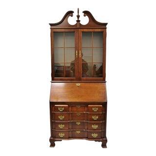 Vintage Cherry Chippendale Block Slant Front Secretary Desk by Jasper Cabinet Co For Sale