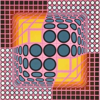 Victor Vasarely Pink Composition 1982 For Sale