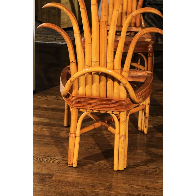 Caning Jaw-Dropping Unique Pair of Custom-Made Palm Frond Chairs, circa 1950 For Sale - Image 7 of 13