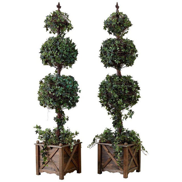 Pair of Neoclassical Faux Ivy Topiary Trees For Sale - Image 13 of 13
