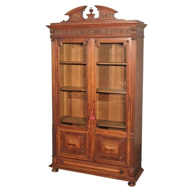 Antique eastlake victorian walnut bookcase display chairish for Eastlake storage
