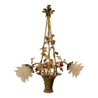 Antique French Bronze d'Ore Chandelier With Dresden Flowers, Circa 1890. For Sale