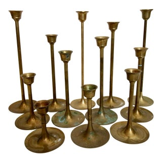 Vintage Brass Graduated Tulip Style Candle Holders - Set of 12
